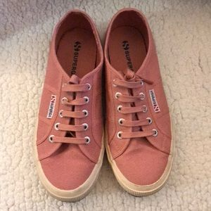 Baby pink superga shoes